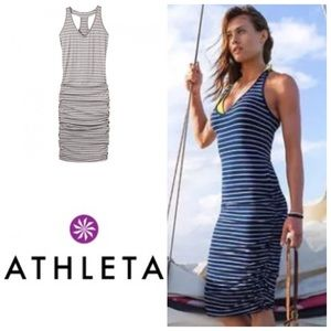Athleta Gray Striped Racerback Ruched Dress Size M